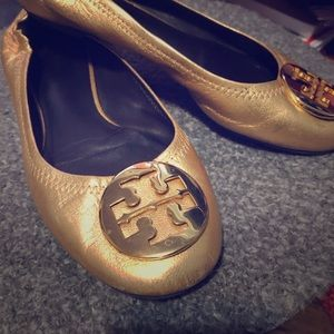 Gold Tory Burch leather flats